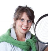 Young active woman with a tennis racquet