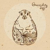 Groundhog Day. Vintage hand drawn card.