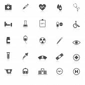 Medical Icons With Reflect On White Background