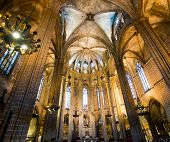 BARCELONA - JUNE 05: Cathedral of the Holy Cross and Saint Eulalia. It is the seat of the Archbishop