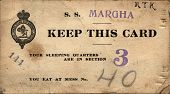 NEWBURG, NEW YORK - CIRCA 1918: WWI Soldier'Ã??Ã??s Cunard Margha Steam Ship ticket from Newburg, NY