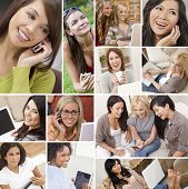 Montage of happy beautiful women, friends, using laptop and tablet computers, listening to music and talking on the phone, enjoying a modern lifestyle.