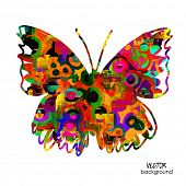 stock photo of freehand drawing  - art sketched colorful butterfly symbols in vector - JPG