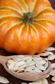 Pumpkin seeds in spoon with pumpkin on table close up