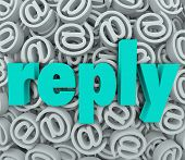 Reply Word At Email Symbol Background Response Feedback