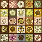 Twenty-five  Squares With Abstract Flowers