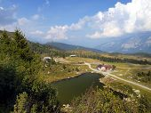 Lake and Lodge Predalago in the summer a charming place near Madonna di Campiglio in the Brenta Dolo
