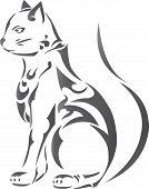 Decorative gray cat ornamen ,tattoo design