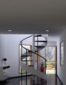 A 3D rendering of modern spiral stairs