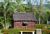 Ancient wooden hut in park - so lived on Mauritius earlier