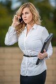 Pretty Attractive Blond Caucasian Business Woman In Her Twenties