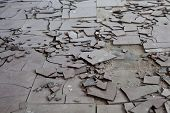 image of asbestos  - Old and broken asbestos floor tiles in an abandoned house - JPG