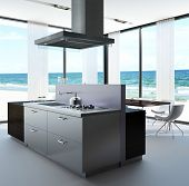 A 3D rendering of kitchen of a villa