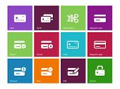Credit card icons on color background.