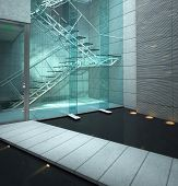 A 3D rendering of glass stairway