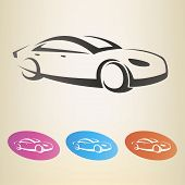 image of car symbol  - modern car outlined vector symbol - JPG