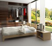 A 3D rendering of bedroom with wardrobe