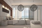 A 3D rendering of white bedroom interior