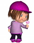 Cute Toon Kid Standing with Pink Lollipop