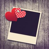 Grunge Valentine Background With Two Hearts And Photo
