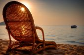 Empty beach chair in Monkey Bay, Lake Malawi, Malawi, Africa