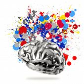 Creativity 3D Metal Human Brain With Splash Colors Background As Concept