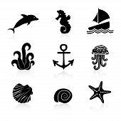 Set of 9 icons Marine life