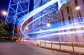 stock photo of hong kong bridge  - Hong Kong and car light - JPG