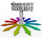 stock photo of divergent  - Choose a New Direction 3d words many possible choices before you in changing jobs - JPG