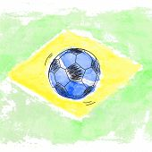 Soccer ball and watercolor flag of Brazil