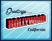 Vector Vintage Touristic Greeting Card Hollywood California