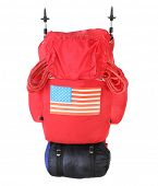 Expedition bag with mountaineering equipment and american flag.