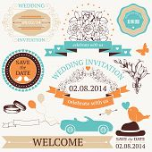 Vector set of wedding design elements