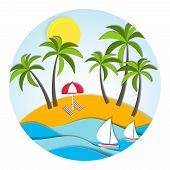 Round sunny vector landscape in paper style