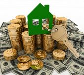 3d house symbol with key on Pile of  money. Conception of growth of mortgage credit