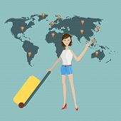 Sexy Lady With A Luggage Travel By Air Around The World With World Map As Background