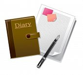 The view of diary with fountain pen