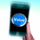 Value On Mobile Phone Shows Worth Importance Or Significance
