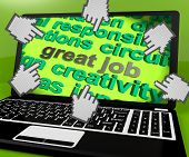 Great Job Laptop Screen Shows Awesome Work And Positive Feedback