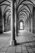 stock photo of church interior  - interior view of a medieval hall in an european monastery - JPG