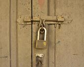 Closed Wood Lock Door Security