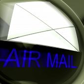 Air Mail Postage Shows International Delivery By Airplane
