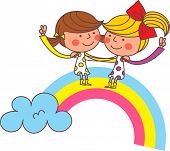 The view of rainbow with children