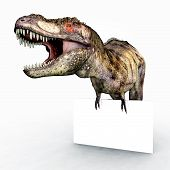 stock photo of tyrannosaurus  - Computer generated 3D illustration with the Dinosaur Tyrannosaurus Rex and an Advertising Sign - JPG