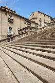 Spain. Catalonia. Girona. Stone Stairway To Cathedral And Old Houses