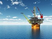 stock photo of drilling platform  - Computer generated 3D illustration with an Oil Platform - JPG