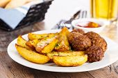 Potato Wedges And Meatballs
