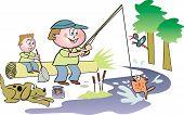 Family fishing cartoon