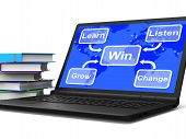 Win Map Laptop Shows Learn Listen Grow And Change