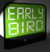 Early Bird Digital Clock Shows Punctuality Or Ahead Of Schedule